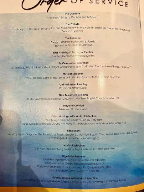 This is the program for George Floyd's memorial service at the Fountain of Praise Church in Houston on June 9, 2020. Photo: Marcy De Luna/Chron.com